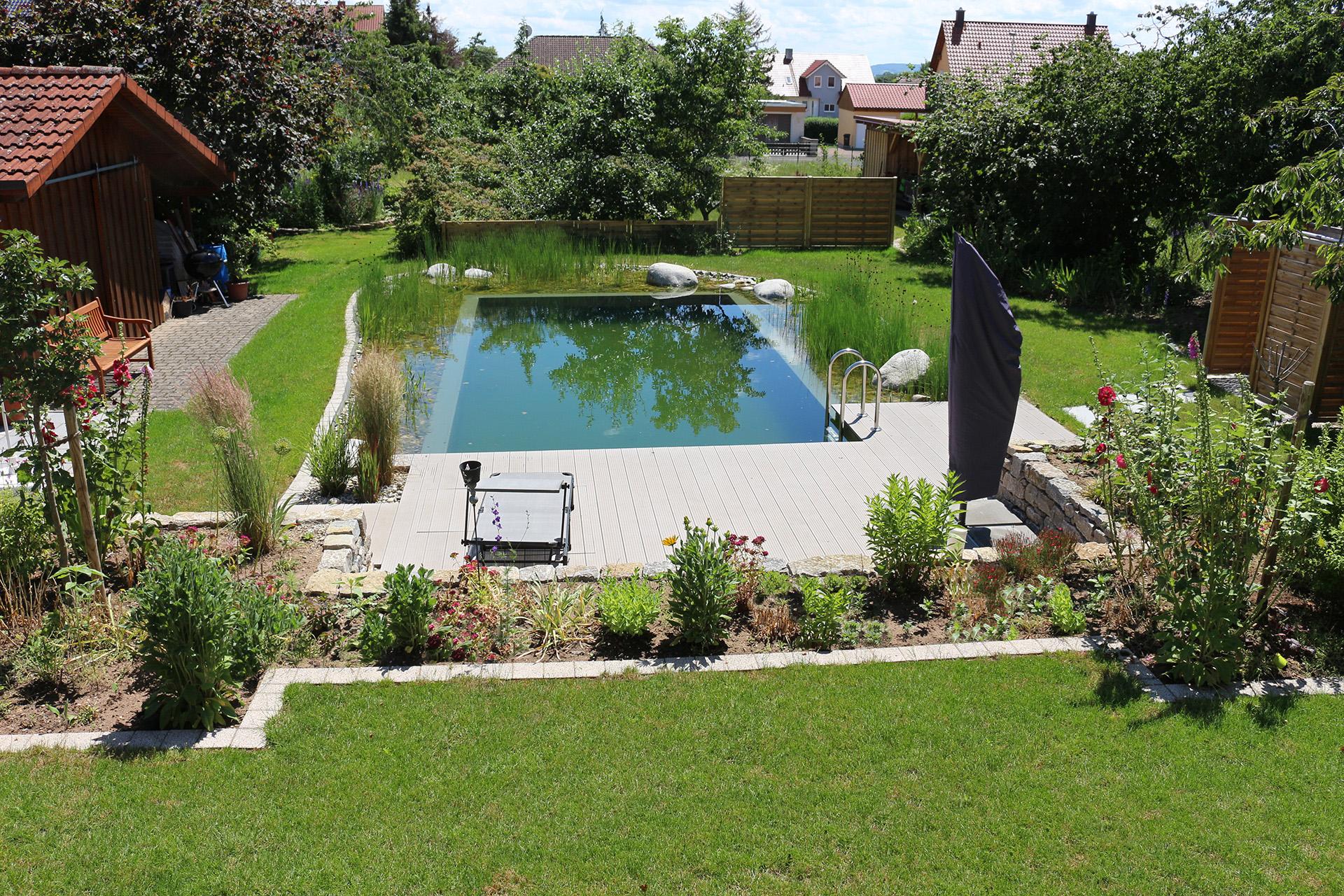 Schwimmteich mit Liegefläche aus WPC-Dielen und einer Trockenmauer aus Muschelkalkstein.
